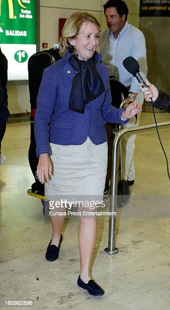 Esperanza Aguirre is seen at Barajas airport on February 1 2013 in Madrid Spain