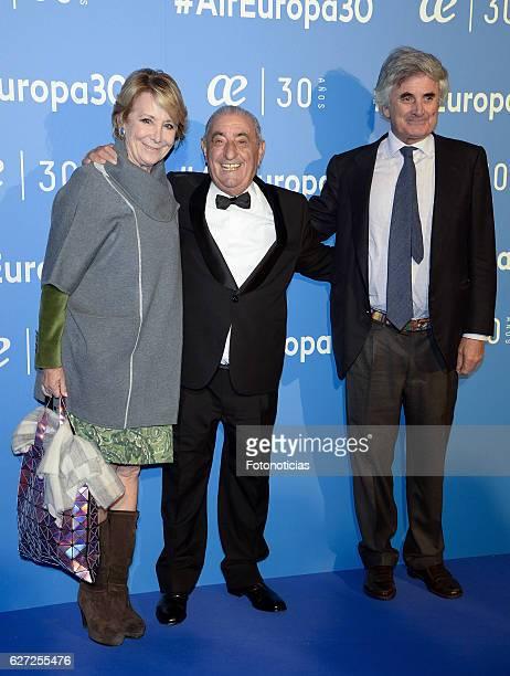 Esperanza Aguirre Juan Jose Hidalgo and Fernando Ramirez de Haro attend the Air Europa 30th Anniversary Event at Palafox Cinema on December 2 2016 in...