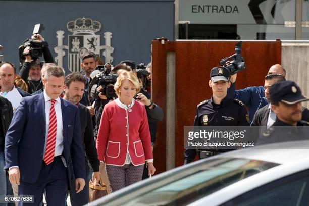 Esperanza Aguirre leaves the National Court where she appeared as a witness in the Gurtel case on April 20 2017 in San Fernando de Henares near...