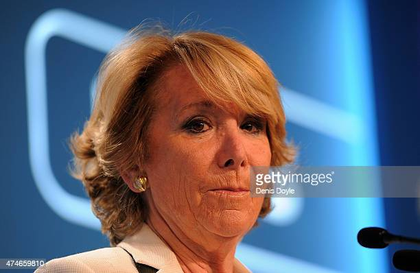 Esperanza Aguirre Popular Party candidate for Mayor of Madrid gives a press conference at party headquaretrs on May 24 2015 in Madrid Spain Spaniards...