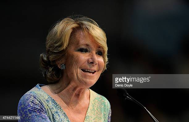 Esperanza Aguirre Popular Party candidate for Mayor of Madrid speaks during an election rally on May 22 2015 in Madrid Spain Spain will hold Regional...