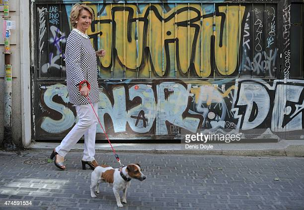 Esperanza Aguirre Popular Party candidate for Mayor of Madrid walks home after casting her vote in the Malasana district of Madrid on May 24 2015 in...
