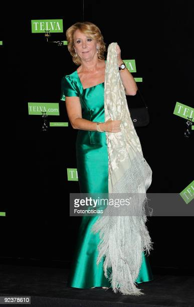 Esperanza Aguirre President of the Comunidad de Madrid arrives to the 2009 Telva Magazine Fashion Awards ceremony held at the Teatro del Canal on...