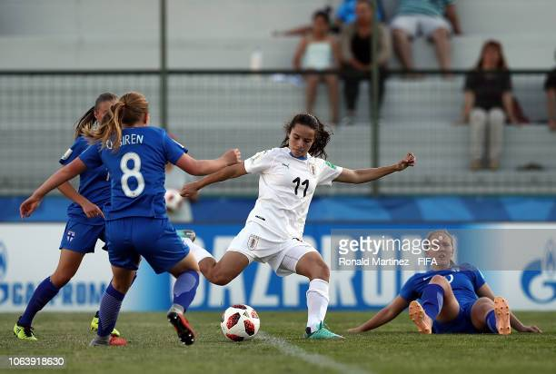 Esperanza Pizarro of Uruguay scores a goal against Finland during the FIFA U17 Women's World Cup Uruguay 2018 group A match between Finland and...