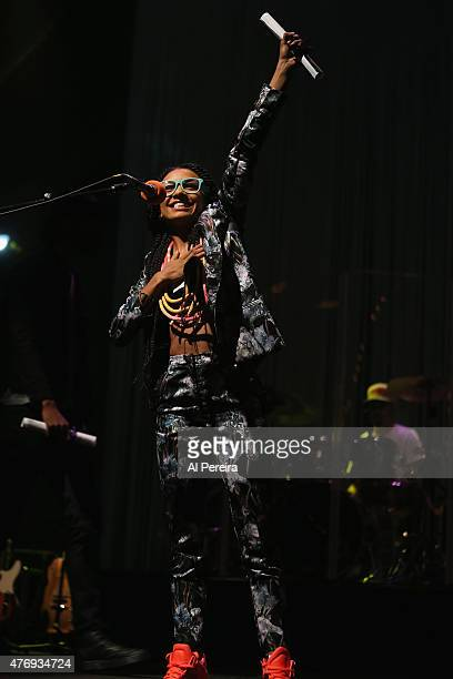 Esperanza Spadling holds up a diploma when she performs her Emily's D Evolution show at Celebrate Brooklyn at Prospect Park Bandshell on June 12 2015...