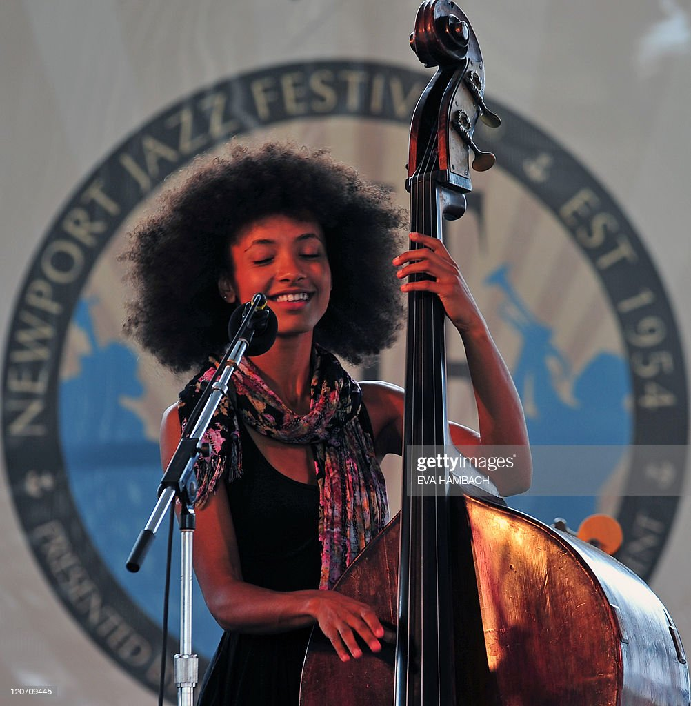 Esperanza Spalding on bass performs with Friends at the Quad stage