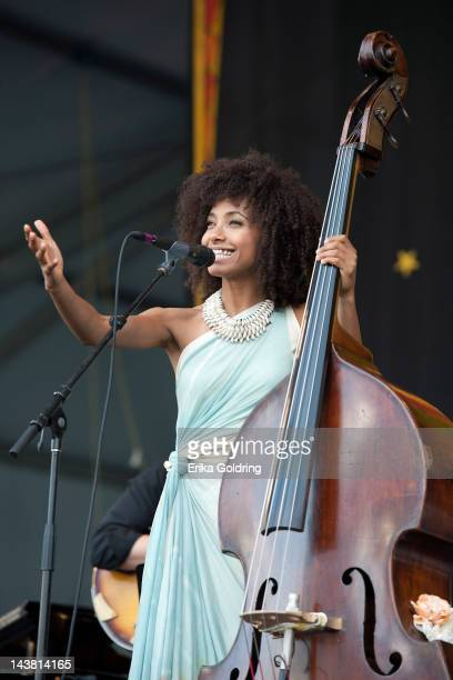 Esperanza Spalding performs during the 2012 New Orleans Jazz Heritage Festival at the Fair Grounds Race Course on May 3 2012 in New Orleans Louisiana