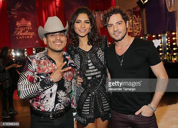 Espinoza Paz Alejandra Espinoza and David Bisbal are seen attending the premiere show of Univision's Nuestra Belleza Latina at Univision Headquarters...