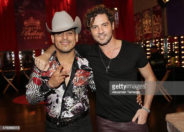 Espinoza Paz and David Bisbal are seen attending the premiere show of Univision's Nuestra Belleza Latina at Univision Headquarters on March 2 2014 in...