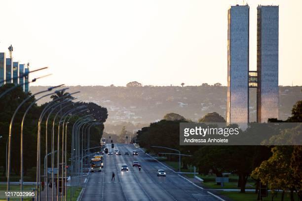 Esplanada dos Ministerios during the coronavirus pandemic on April 1, 2020 in Brasilia, Brazil. According to the Ministry of health, Brazil has...