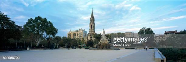 Esplanade Charles de Gaulle and toer of Eglise Sainte Perpetue Church