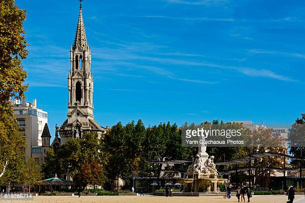 Esplanade Charles de Gaulle, the Saint Perpetue church, Nimes, Gard, France