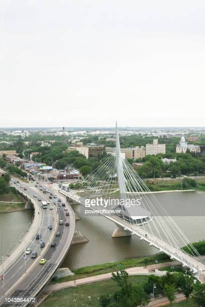 esplanade riel bridge in winnipeg, manitoba, canada - esplanade riel stock photos and pictures