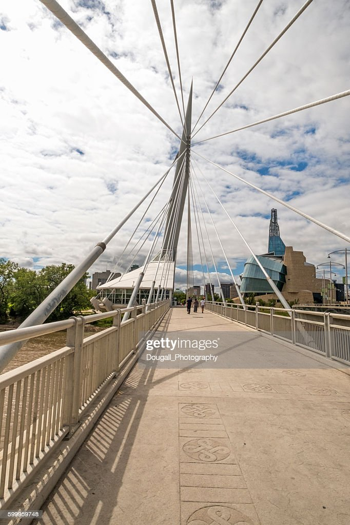 Esplanade Riel, Winnipeg, Manitoba With Canadian Museum for Human Rights : Stock Photo