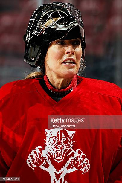 ESPNs Linda Cohn participates in the Goal of a Lifetime Contest for goaltender tryouts by the Florida Panthers at the BBT Center on March 16 2015 in...