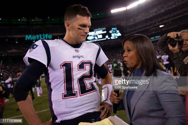 ESPNs Lisa Salters interviews New England Patriots Quarterback Tom Brady after the National Football League game between the New England Patriots and...