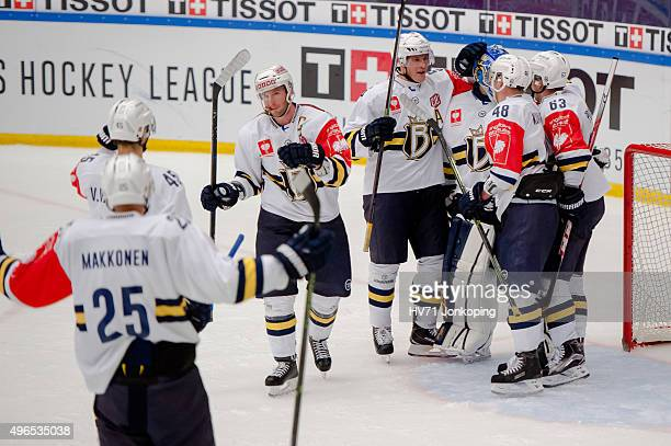 Espoo Blues celebrates after the game during the Champions Hockey League round of eight game between HV71 Jonkoping and Espoo Blues on November 10,...