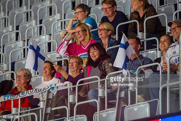 Espoo Blues fans during the Champions Hockey League round of thirty-two game between Adler Mannheim and Espoo Blues at SAP Arena on October 6, 2015...