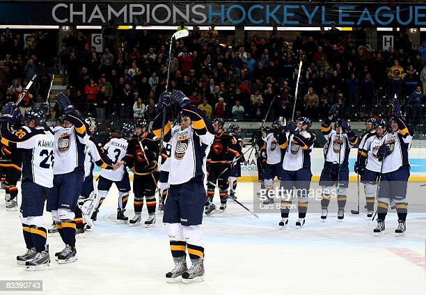 Espoo players celebrate winning the IIHF Champions Hockey League match between SC Bern and Espoo Blues at the PostFinance Arena on October 22, 2008...