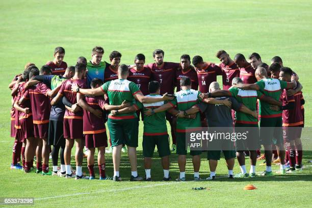 BOA Esporte footballers are pictured during a trainnig session where Bruno Fernandes former goalkeeper of Atletico MG and Flamengo was presented as...