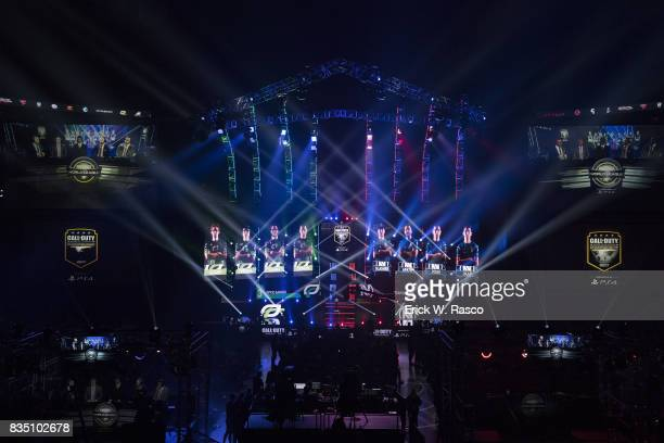 Call of Duty World League Championship Overall view of stage and player profiles on screen during Optic Gaming team vs Team Envyus Grand Final round...