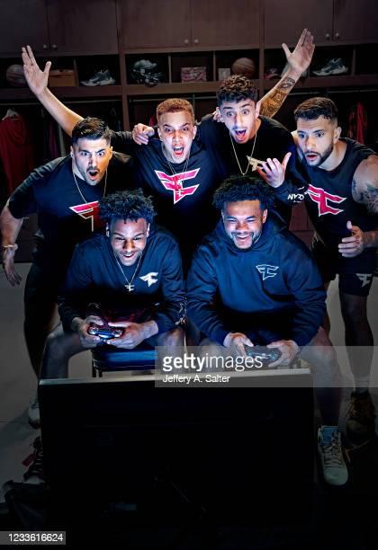 Portrait of FaZe Clan gamers Nicholas Nickmercs Kolcheff, Kris Swagg Lamberson, Brian Rug Awadis, Thomas Temperrr Oliveira, and FaZe Clan athletes...