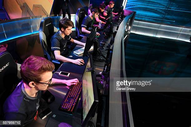 Esports warms up prior to the match against Ninjas in Pyjamas at the ELeague Arena at Turner Studios on June 3 2016 in Atlanta Georgia