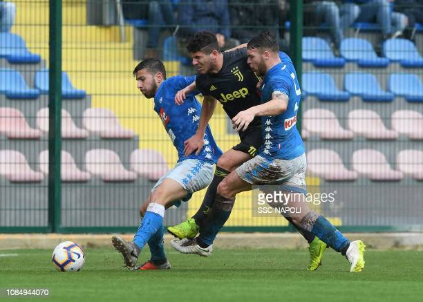 Esposito , Portanova during the Serie A Primavera match between SSC Napoli U19 v Juventus U19 at on January 18, 2019 in Naples, Italy.