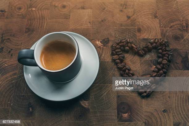 Espresso and Coffee Bean Heart