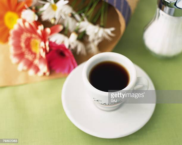 Espresso and Flower, High Angle View, Full Frame, Differential Focus