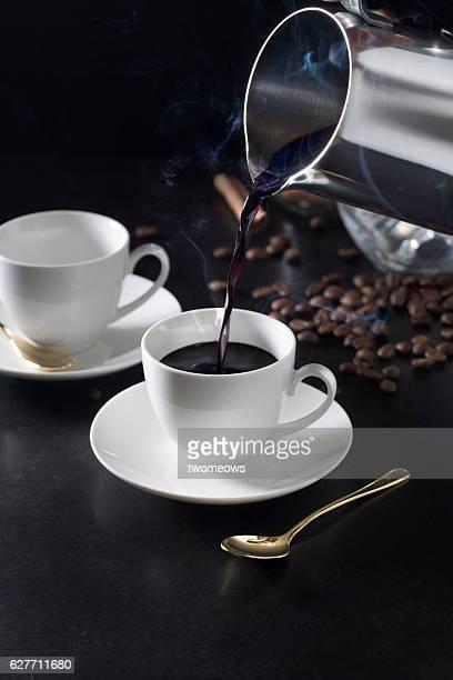 Espresso coffee in cups.