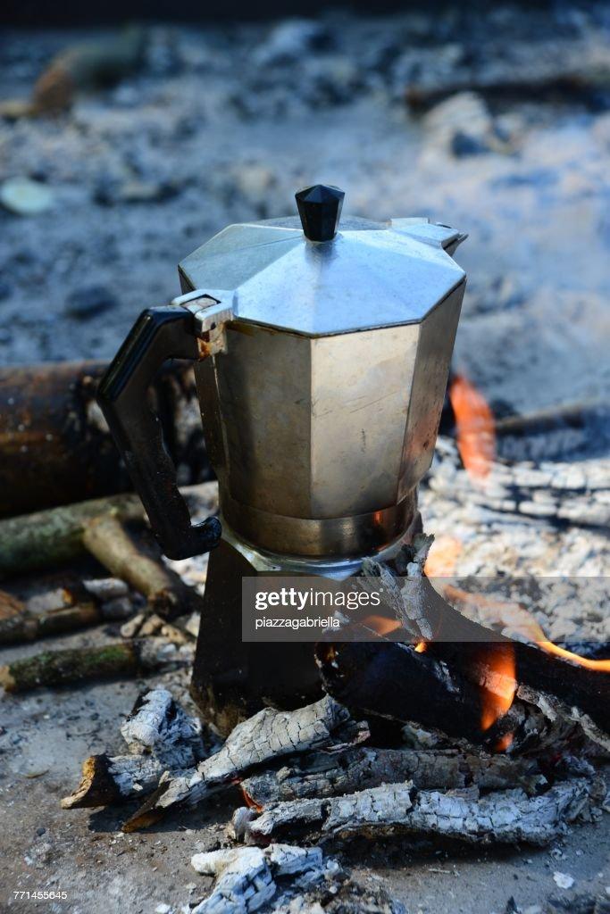 Espresso coffee maker on a campfire : Stock Photo
