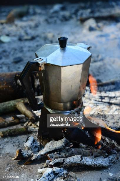 Espresso coffee maker on a campfire
