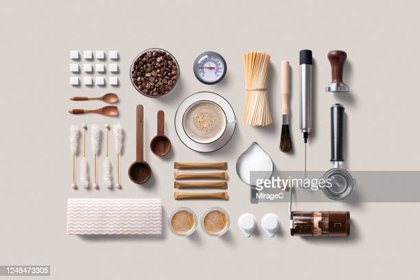espresso coffee supplies knolling flat lay - kitchen utensil stock pictures, royalty-free photos & images