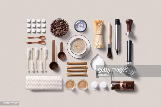 espresso coffee supplies knolling flat lay - keukengereedschap stockfoto's en -beelden