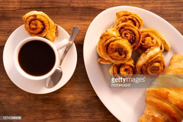 Espresso coffee with cinnamon rolls