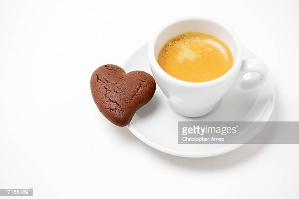 Espresso Coffee with Italian Heart Shaped Biscuit