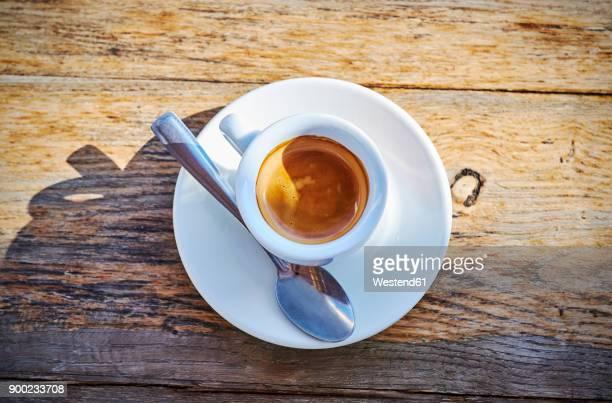 espresso cup on wood - forza italia foto e immagini stock
