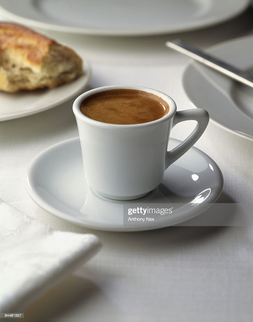 Espresso in cup and saucer : Stock Photo