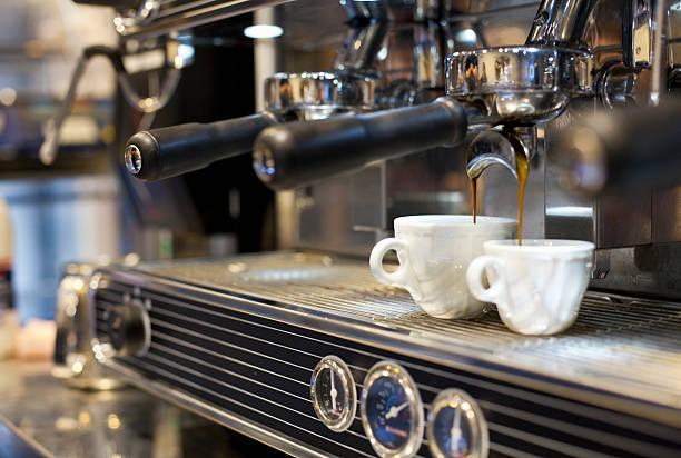 Espresso Machine Pouring Coffee Into Cups Wall Art