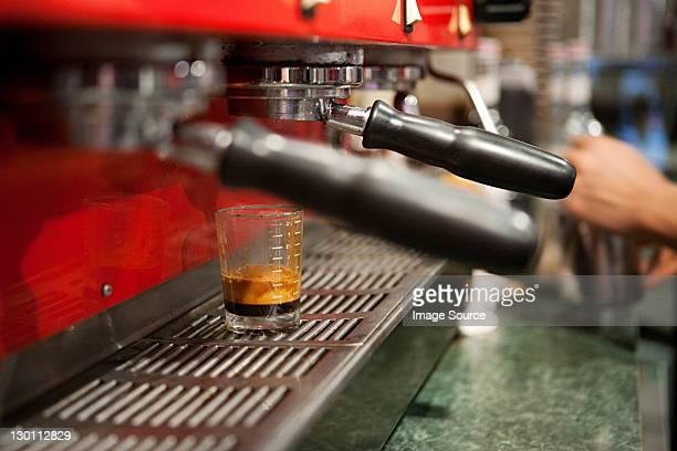 Espresso maker in cafe