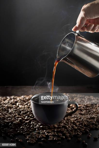 Espresso on moody background.