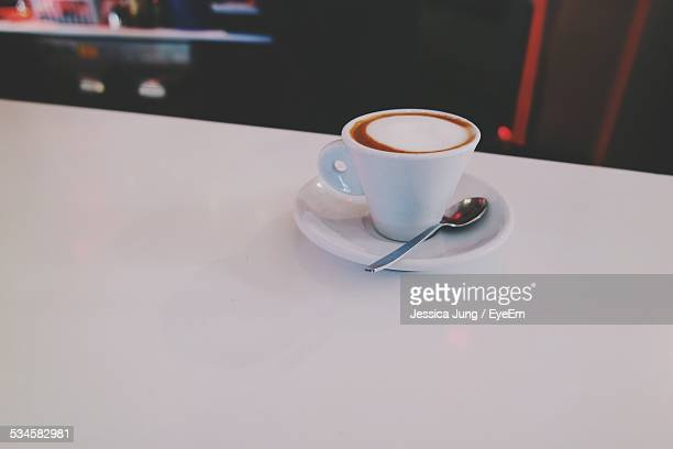Espresso Served In Cup On Table