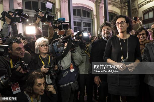 Esquerra Republicana de Catalunya' ERC candidate Marta Rovira gives a press conference following the Catalan regional election in Barcelona on...