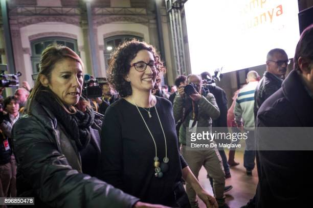 Esquerra Republicana de Catalunya' ERC candidate Marta Rovira leaves after she went saluting a small crowd of supporters at the election night venue...