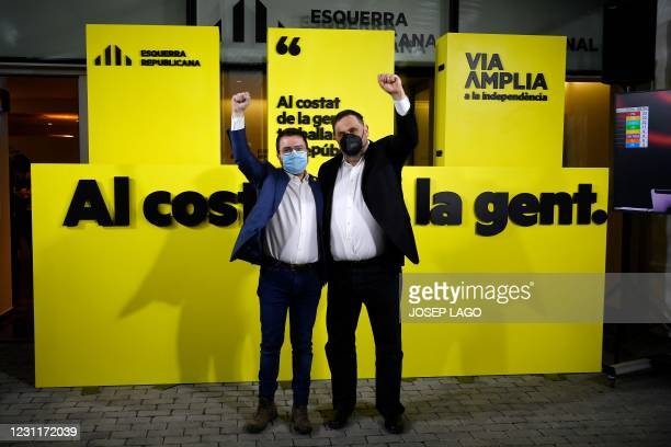 Esquerra Republicana de Catalunya's jailed leader Oriol Junqueras , who has been freed temporarily to participate in the electoral campaign, and...