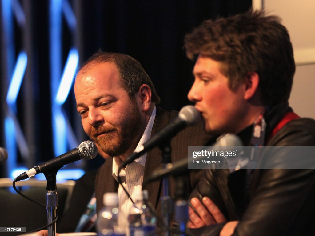 Esquire's Andy Langer (L) and musician Taylor Hanson speak onstage at 'When to Tune Out the Trainwreck' during the 2014 SXSW Music, Film + Interactive Festival at Austin Convention Center on March 14, 2014 in Austin, Texas.