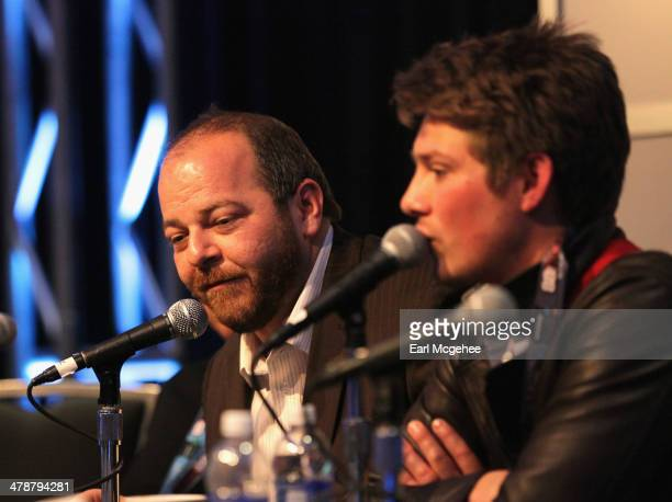 Esquire's Andy Langer and musician Taylor Hanson speak onstage at 'When to Tune Out the Trainwreck' during the 2014 SXSW Music Film Interactive...