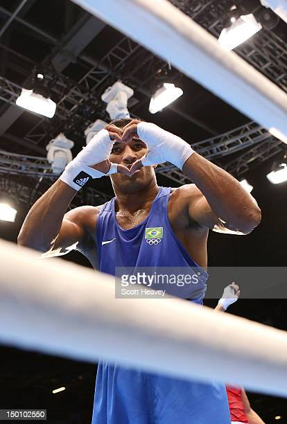 Esquiva Falcao Florentino of Brazil reacts after he was declared the winner against Anthony Ogogo of Great Britain during their Men's Middle Boxing...