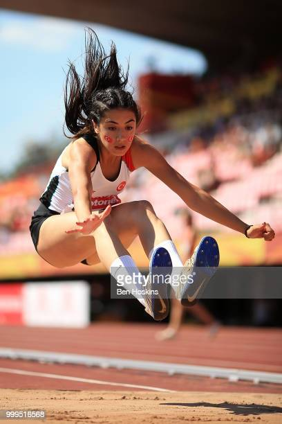 Esra Yilmaz of Turkey in action during the final of the women's triple jump on day six of The IAAF World U20 Championships on July 15 2018 in Tampere...